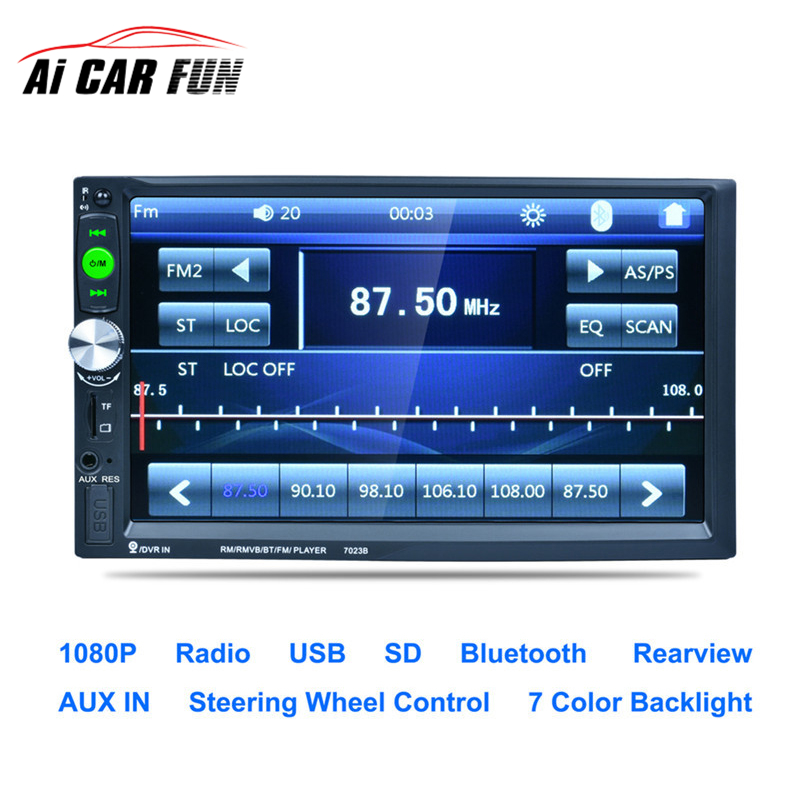 7023B Car MP5 Player 7 Touch Screen In Dash Bluetooth Car Stereo Radio MP5 Player Support FM USB SD Aux Rear View Camera Input in dash car touch usb sd mp3 mp5 player aux fm radio stereo bluetooth double din camera fashion item 17sept14
