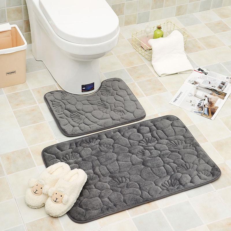 2Pcs Modern Bathroom Mat Set U Shape Bathroom Carpet Toilet Mat Non-Slip Badmat Water Absorbent Bath Mat Tapis Salle De Bain