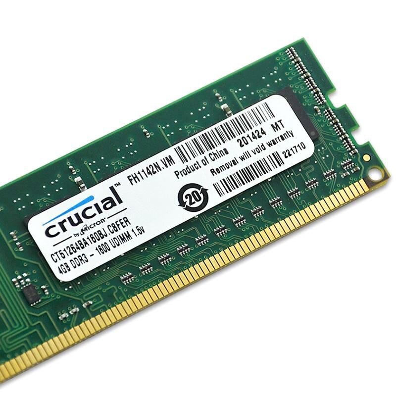 Crucial RAM DDR3 4 gb 8 gb 1333 mhz 1600 mhz 2X4 gb 8 gb 240-pin DDR3 PC3-10600U PC3-12800U DIMM Mémoire De Bureau
