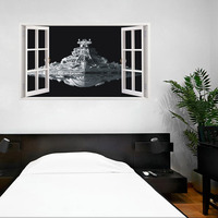 الإبداعية 3d ستيريو ملصقات الحائط الزخرفية للجلوس غرفة المعيشة نافذة وهمية ستار الحروب الغريبة مركبة المنزل ملصقات الشارات