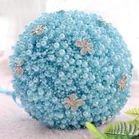 Elegante 6 Colori Wedding Bridal Bouquet Handmade Completa Pearl mix Strass Bouquet Spilla Accessori Da Sposa per Damigella D'onore