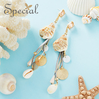Special Brand Fashion Drop Earrings Gold Ear Clip Natural Peal Crystal Charm Silk New Jewelry Gifts for Women S3734E