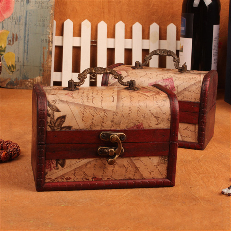 Wooden Retro Antique Decorative Gift Box Wood Jewelry Box Case Necklace Bracelet Storage Organizer