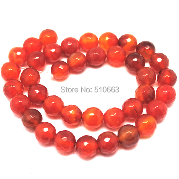 64 Piece/Lot,Faceted Red Agatee Beads,Fit Imitation Jewelry Bracelet Making,Size: 12mm