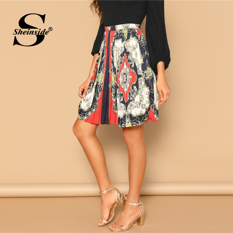 24ce076a06 Sheinside Multicolor Scarf Print Zip Detail Pleated Skirt 2019 Summer Skirts  Womens Elegant Office Ladies A Line Midi Skirt-in Skirts from Women's  Clothing ...