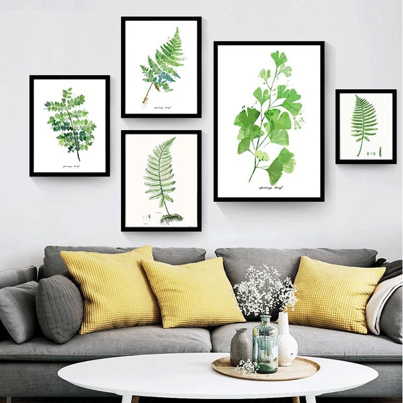 Modern watercolor green leaf tropical plant cottage canvas for Home decor 90 off