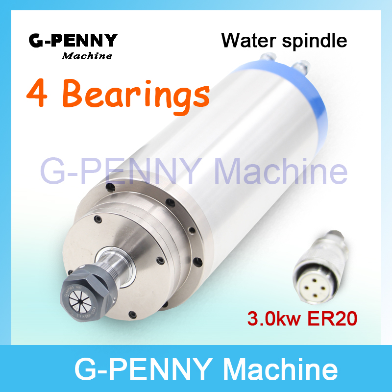AC Motor Water Cooling Spindle motor 220v 3.0KW ER20 4Bearings Water Cooled  Motor for CNC Router engraving milling Machine ! high quality 220v 3 kw cnc air cooled square spindle motor er20 4 beaings for cnc wood working engraving milling machine