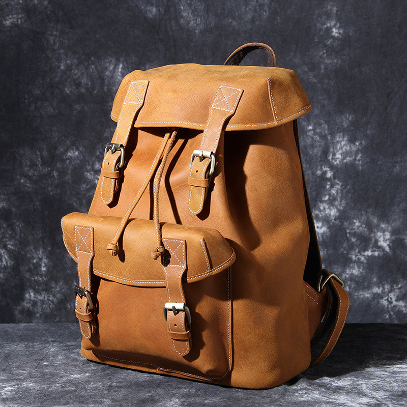 PNDME retro crazy horse cowhide men 39 s backpack simple brown large capacity genuine leather anti theft travel bookbags bagpack in Backpacks from Luggage amp Bags