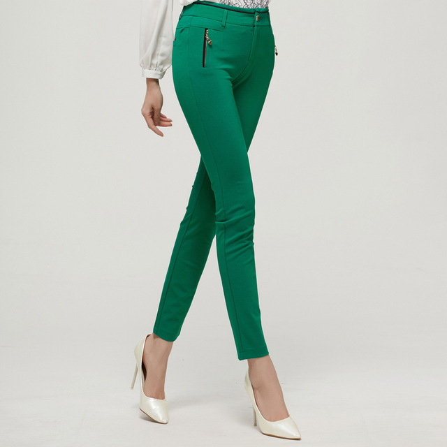 0b1048bf937 Womens Pencil Pants Fashion Casual Slimming Black Green Girls Skinny  Trousers Womens Clothes OL Career Office Lady Elegant A214