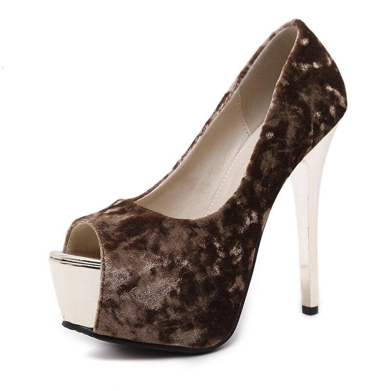 bb6ed4857ea71 US $30.27  Trauerflormyrte Plattform 13 CM Ultra High Heels Frau Schuhe  Nachtclub Sexy Pumps Kleid Schuhe Schwarz Apricot Flach Mund pumpen in ...
