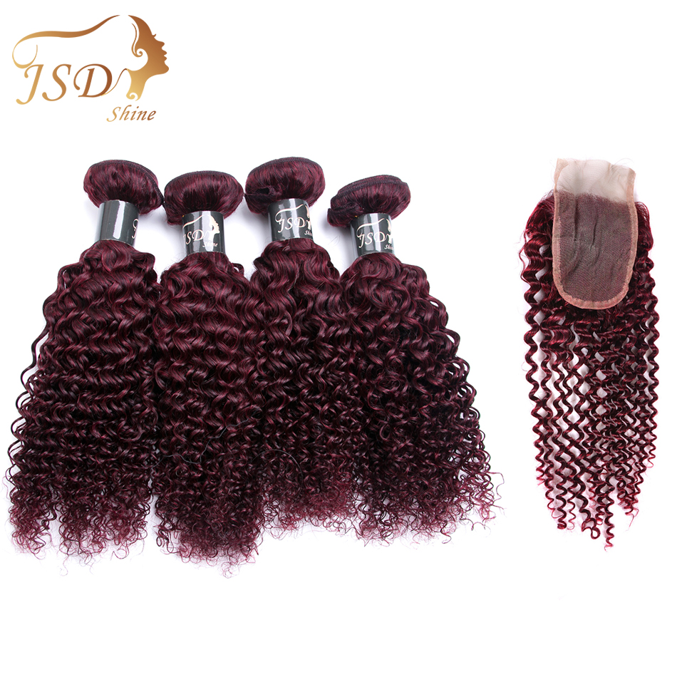 JSDshine Bold Red 99J Mongolian Kinky Curly Hair 4 Bundle With Lace Closure Burgundy Curly Human Hair With Closure Non-Remy Hair