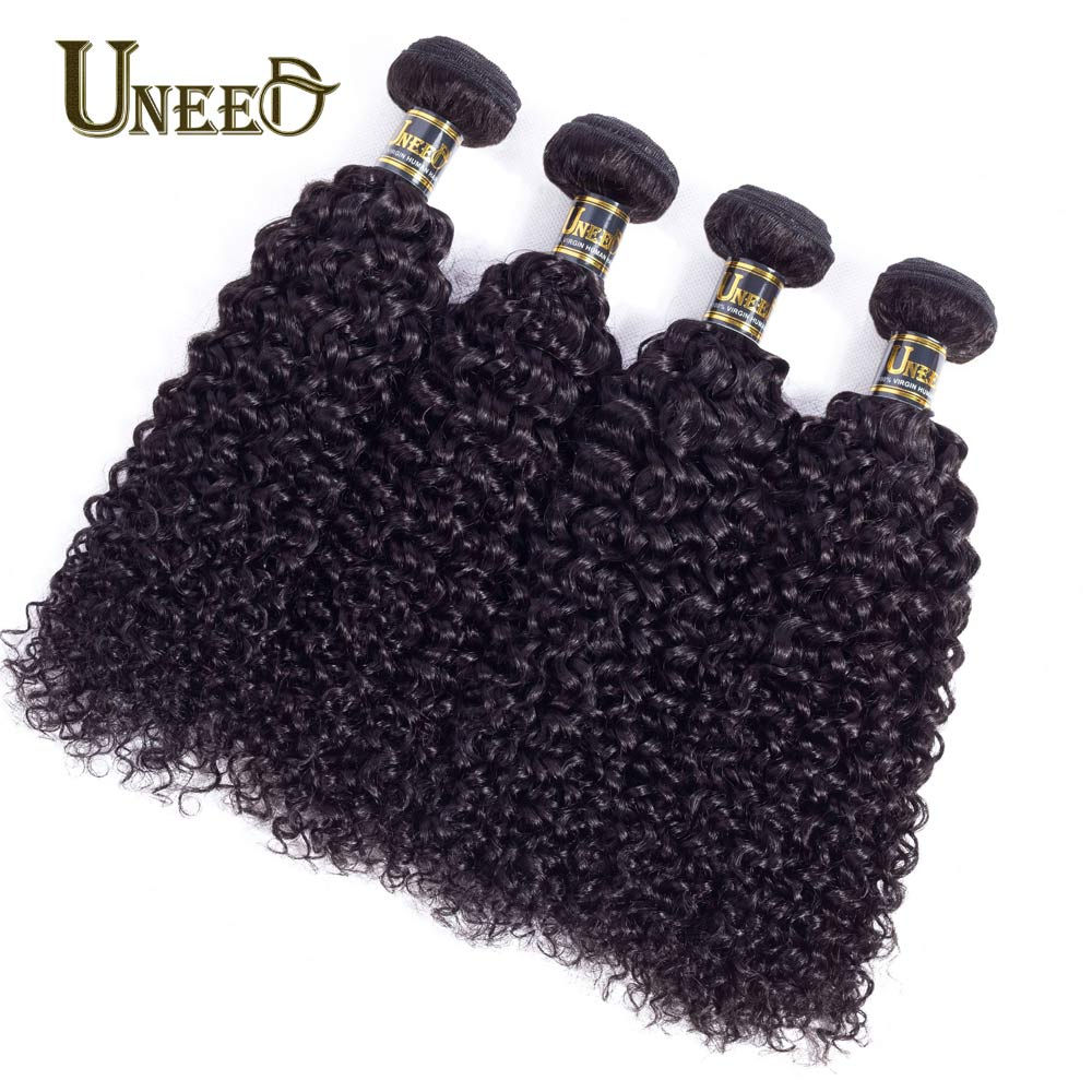 Uneed Hair 4 Bundles Peruvian Afro Kinky Curly Weave Human Hair Bundles Deals Hair Weaving Remy Hair Extensions Natural Color