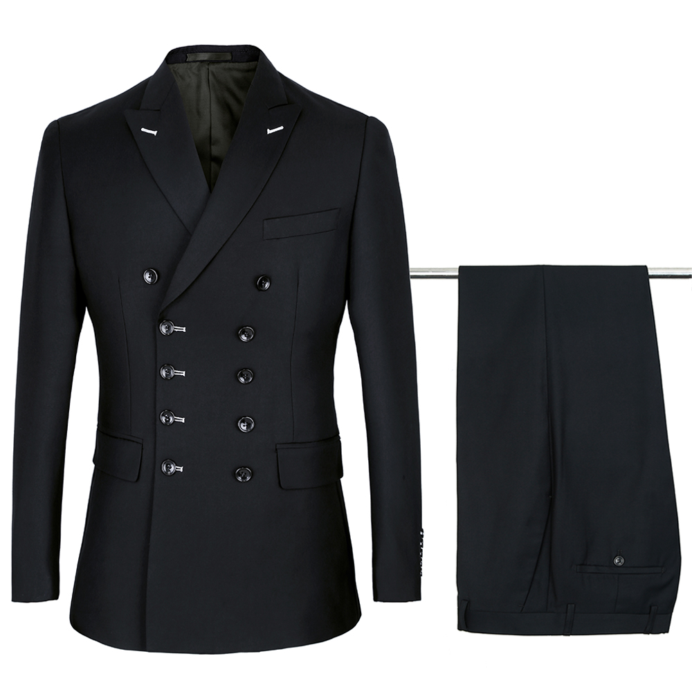 Men's Suit Wedding-Tuxedos Slim-Fit Black Double-Breasted Jacket--Pants Party Paulkonte-Made