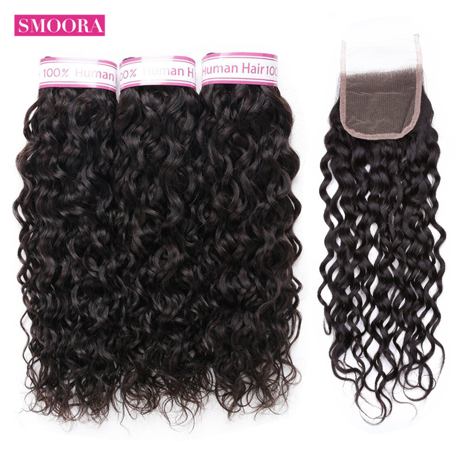 Smoora Hair Water Wave Bundles with Closure Free part Natural Black 3 Pcs Hair with Closure