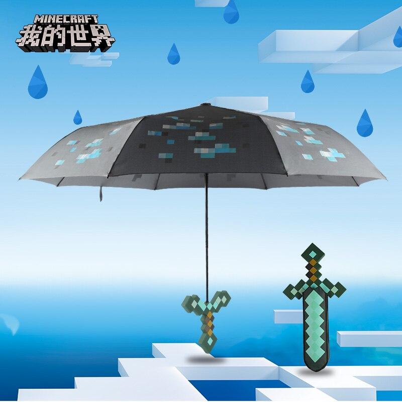 Minecraft Jouets Autour Véritable Armes Diamant Épée Parapluies Ensoleillé Parapluie Cadeaux