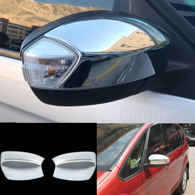 Car Styling ABS Chrome Front Side Rearview Mirror Cover Strip look side mirror cover For Ford S-MAX 2007-2009 Car Accessories 2 pieces car styling door side rearview mirror cover trim abs for subaru forester 2009 2010 2011 2012