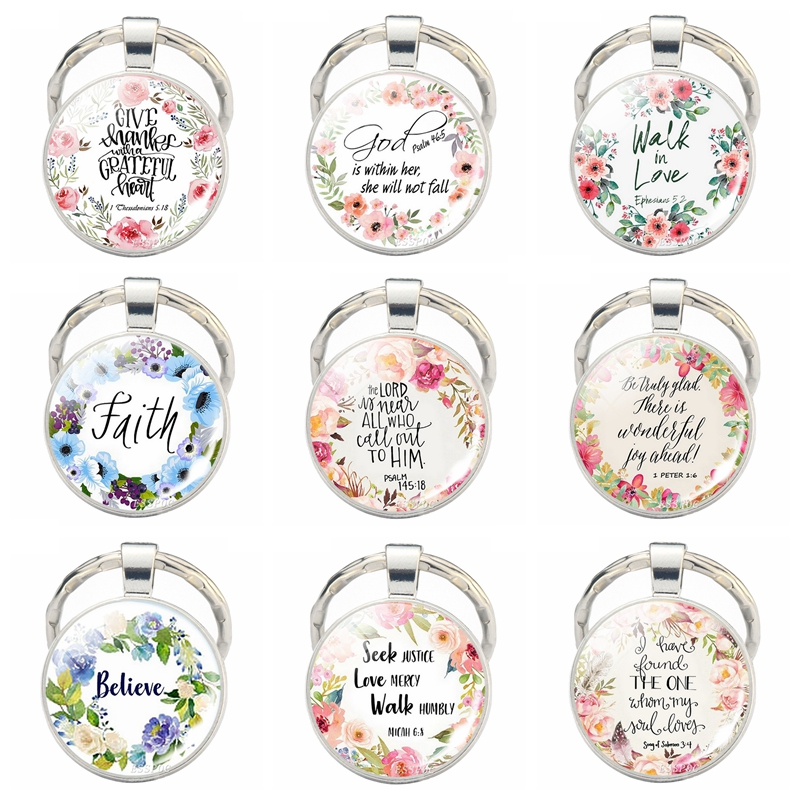 Bible Verse Quotes Keychain Religious Jewelry Glass Cabochonl Key Chain Gifts for Christian Christimas Gifts image