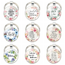 Bible Verse Quotes Keychain Religious Jewelry Glass Cabochon Silver Plated Metal Key Chain Gifts for Christian Christimas Gifts god is my refuge and strength a very present help in trouble key chain glass cabochon god jewelry bible verse key rings