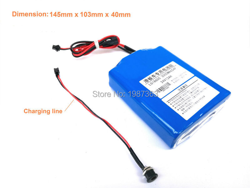 Electric Skateboard Battery Pack 6S4P 11400mAh Li-ion Battery 18650 Battery Pack