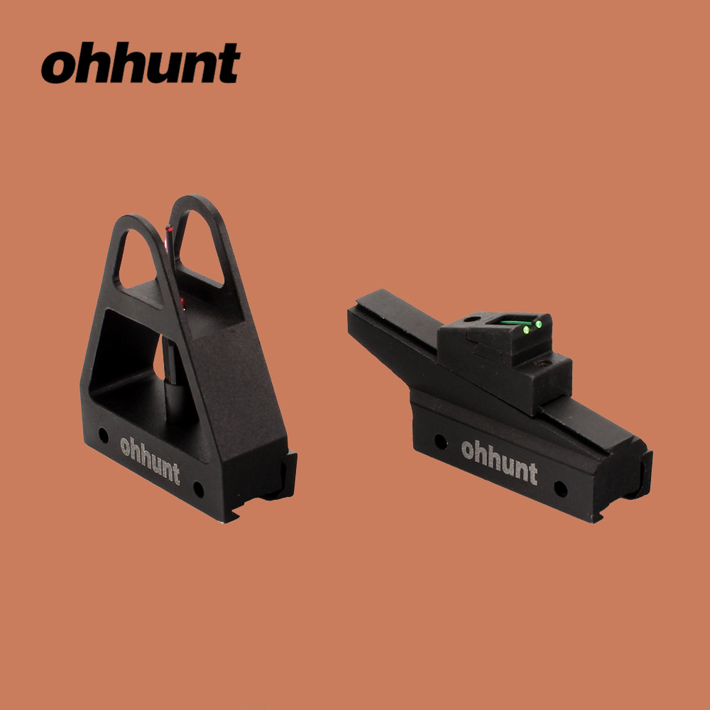 Ohhunt Hunting Accessories Front Rear Sights .22 Dovetail Rail Mount Quick Release Tactical Fiber Optic Open Sight For Airgun