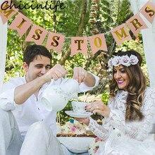 Chicinlife, 1 набор, розовый/белый баннер Miss to Mrs Bunting, девичник, вечерние, для свадьбы, для душа, помолвки, свадебные украшения