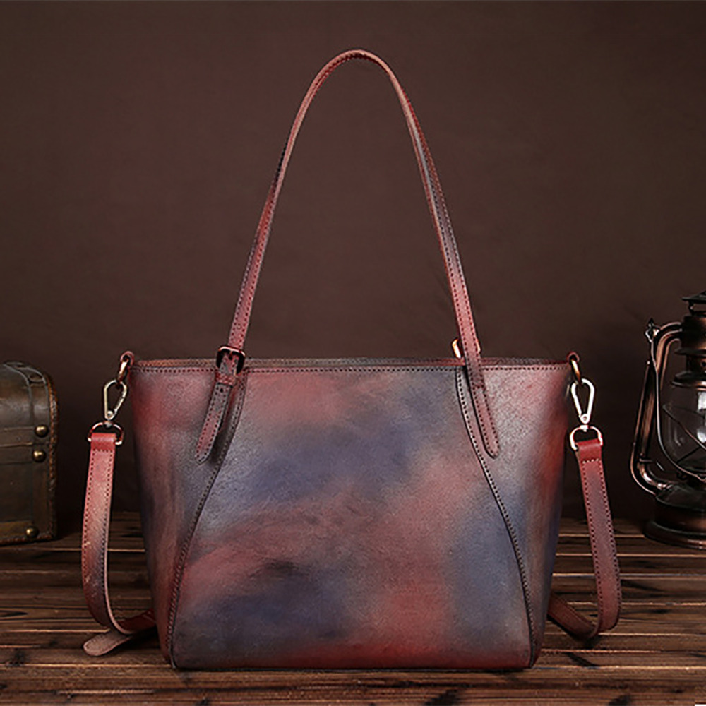 Vintage Trend Women Genuine Leather Handbag Real First Layer Cowhide Handmade Multicolor Shoulder Bag Tote Casual Shopping Bags made of first layer cowhide handbag for women vintage shopping casual female tote bag genuine leather ladies shoulder bags new