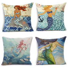 Marine Pattern Cushion Cover Linen Decorative Cushion Covers for Sofa Seat Cushion Cover Textile Printing Throw
