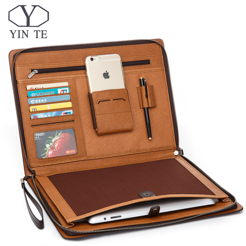 YINTE Padfolio Portfolio Professional Leather Padfolio with Zippered Closure, Interior 10.1 Inch Tablet Sleeve File Folder Bag black brown business zipper pu leather portfolio a4 documents folder cases manager bag tablet pc mobile padfolio binder