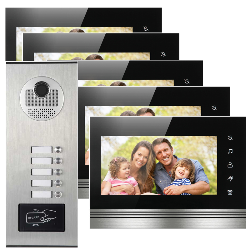 5 apartments intercomunicador audio intercom system HD camera video door phone with RFID card reader 125khz rfid card access control video door phone system wired 7 inch color screen video door bell with rfid card reader