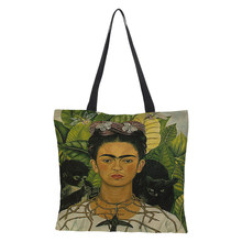 Unique Frida Kahlo Tote Linen Reusable Shopping Bag Fashion Women's Tote Travel Beach Bag Leisure custom made printing 43cm*43cm(China)