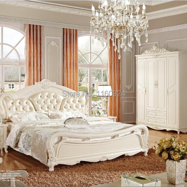 European Style Five Pieces Wood Bedroom Furniture Set:Luxury Bed ...