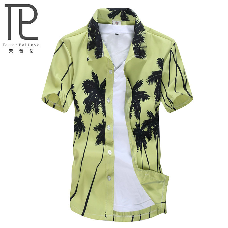 ced7f2fe18c7 Mens Hawaiian Shirt Male Casual camisa masculina Printed Beach Shirts Short  Sleeve brand clothing Free Shipping Asian Size 5XL-in Casual Shirts from  Men's ...