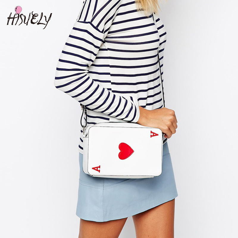 Hisuely New Fashion Women Crossbody Bags Handbags Korean Poker Hearts A Fun Funny Ladies Shoulder Bag Red Heart Female Hot Sale