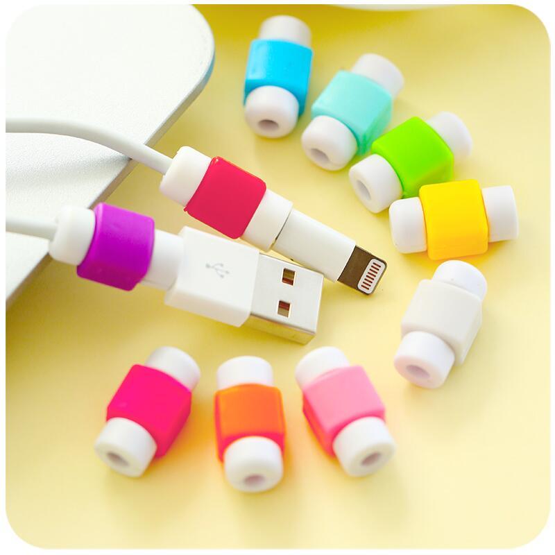 Protector de Cable para iPhone, Protector de Cable de línea de datos, funda protectora, tapa de carrete para Cable USB, Cable de carga a Color