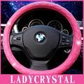 Ladycrystal Diamantes Rosa Tampa Da Roda de Direcção Do Carro de Couro Macio Meninas senhoras Punho Para BMW Para Benz Para Audi Universal Para 38 CM