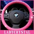 Ladycrystal Diamantes de Color Rosa Suave Cubierta Del Volante Del Coche de Cuero Niñas señoras Agarre Para BMW Para El Benz Audi Universal Para 38 CM