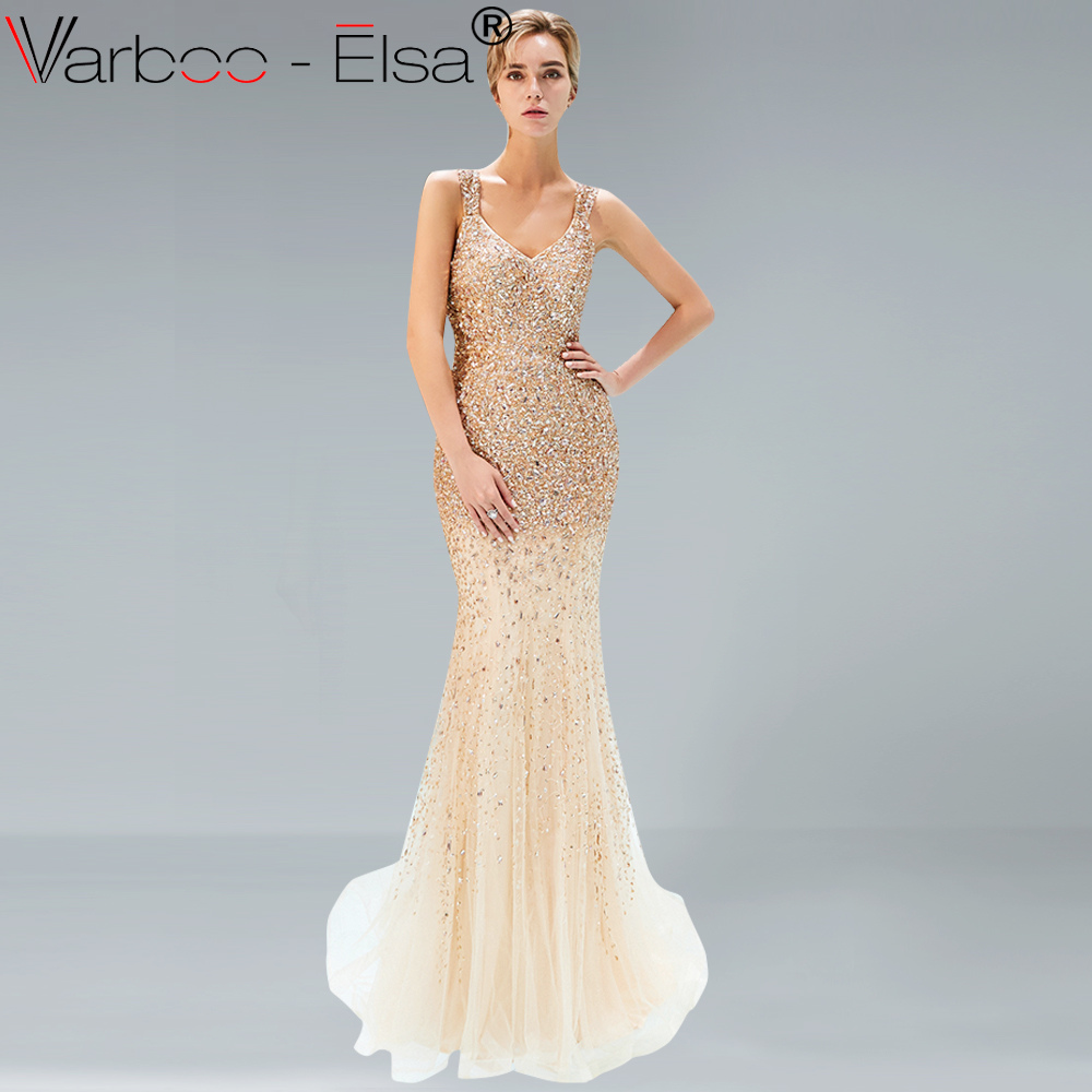 e58e06e6c0 VARBOO ELSA Luxury Gold Sparkly Sequined Mermaid Evening Dresses 2018  Beading Sleeveless Sexy Arabic Woman Formal Party