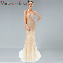 65884a865 VARBOO ELSA Luxury Gold Sparkly Sequined Mermaid Evening Dresses 2018  Beading Sleeveless Sexy Arabic Woman Formal Party