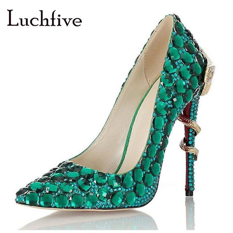 뱀 모양의 얇은 하이힐 여성 펌프 크리스탈 뾰족한 발가락 파티 신발 녹색 로얄 블루 슬립 라인 석 신발 여자-에서여성용 펌프부터 신발 의  그룹 1