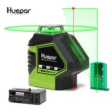 5 линий, 2 точки, зеленый лазерный уровень, 3d, самонивелирующийся крест, Лазерная линия, делает линию наклона,, Huepar бренд