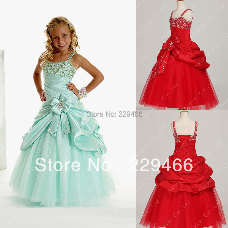 50% Off In Stock Real Photo Beaded   Flower     Girl     Dress   Floor Length Ball Gown   Girls   Pageant   Dresses   2015