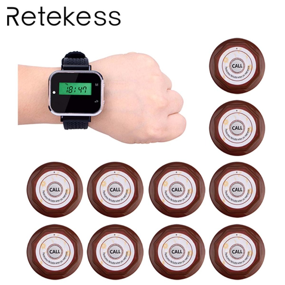 Waiter Calling Paging System Restaurant Guest Pagers Wireless For Cafe 1 Wrist Watch Receiver 10 Call
