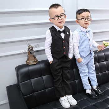цена на Suits for Baby Boy Costume Cotton Boys Suits Single Breasted Kids Blazers Boys Suits Set Formal Wedding Wear Children Clothing