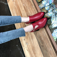 Women Pointed Toe Thick High Heel Shoes