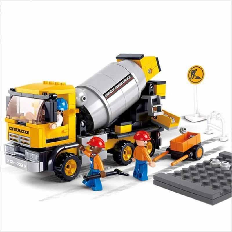 296 قطع الاسمنت شاحنة لخلط المواد Compatibie Legoings اللبنات مجموعة ألعاب Diy تربية الأطفال عيد الميلاد هدايا عيد الميلاد