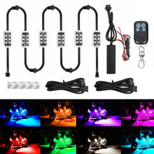 Мотоцикл/атмосферное освещение автомобиля 6 RGB 36 светодиодный с Беспроводной удаленного Управление Smart стоп-сигналы Moto декоративные полосы неоновая лампа комплект