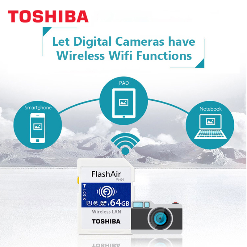 Image 2 - TOSHIBA FlashAir W 04 Wifi Memory SD Card 32GB SDHC 64GB SDXC Class 10 U3 Memory card For Digital Camera-in Memory Cards from Computer & Office