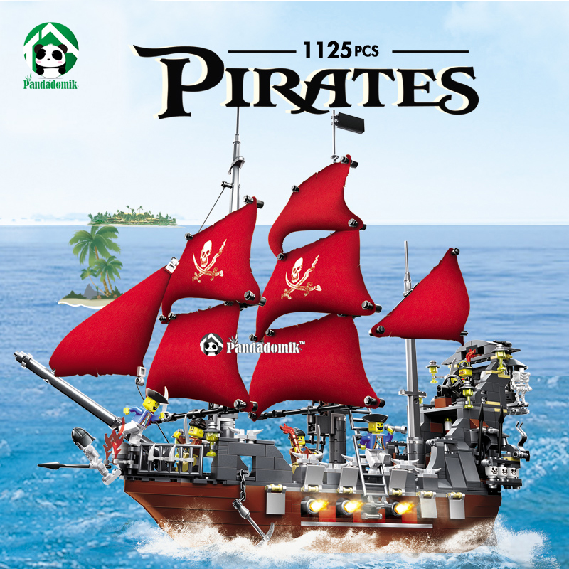 Large Pirates 1123pcs Black Beard Pirate Ship Building Blocks Constructor set Educational Toys for Children Compatible lepin susengo pirate model toy pirate ship 857pcs building block large vessels figures kids children gift compatible with lepin