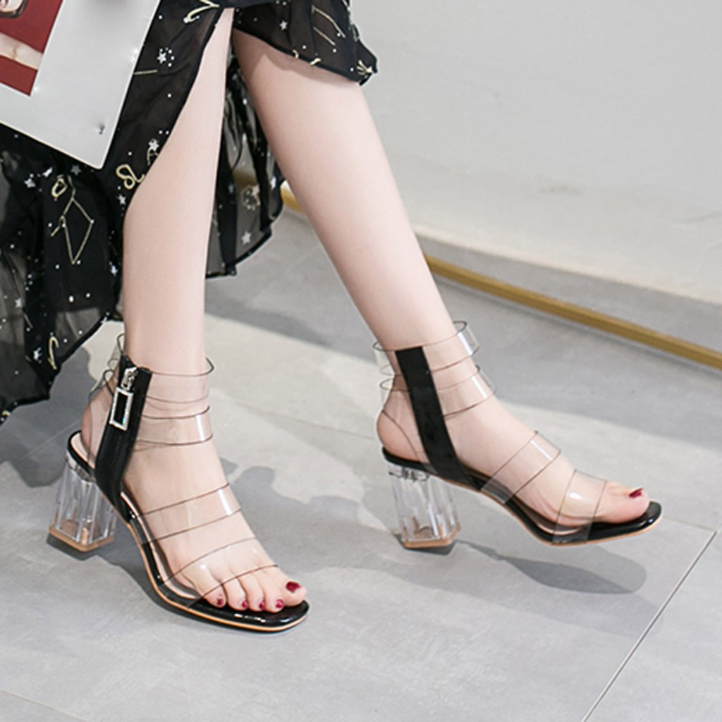 Fire Protection Womens Snake Pattern Open Toe Pointed Shoes High Heels Pointed With Buckle Stiletto Heels Transparent Clear Shoes#g5