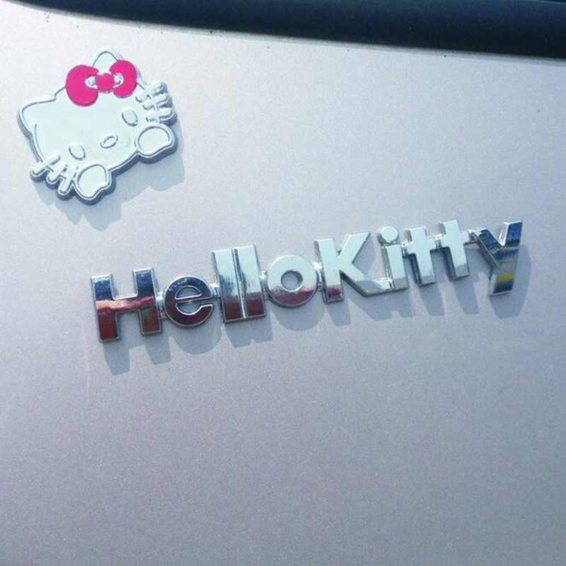 Pure Metal 3D Cartoon Hello Kitty Car Sticker Kit Cat Cover Scratch To Women Girls Car Whole Body Sticker Styling